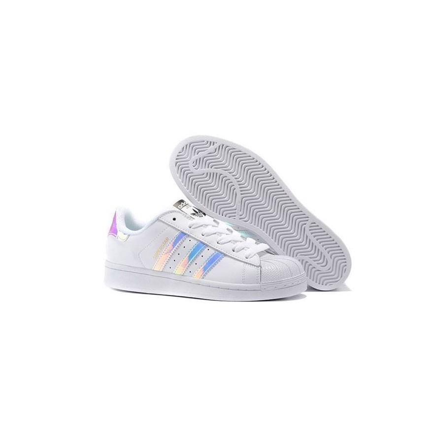 ADIDAS 鐳射鏡面adidas 愛迪達黑白三條杠炫彩鐳射 男鞋女鞋貝殼頭情侶休閒板鞋