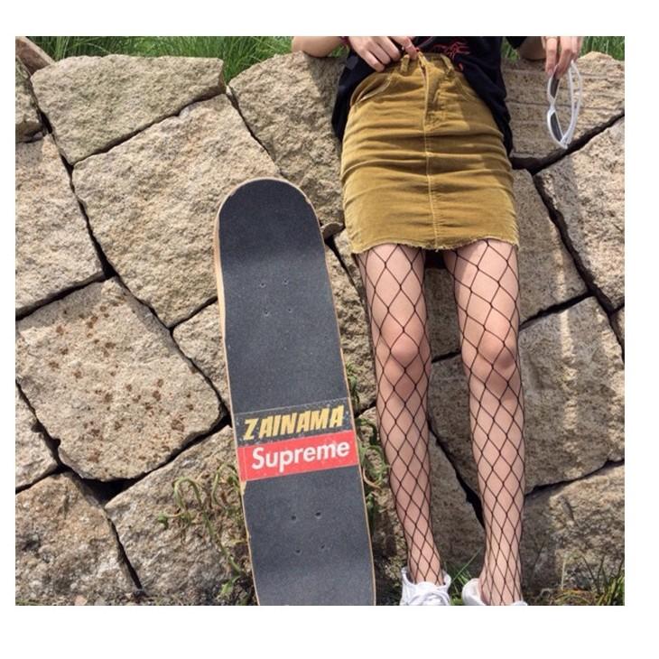 Z19 ✨2017 破褲網襪連褲襪韓國原宿漁網黑色鏤空漁網襪牛仔褲 襪子女網格破洞長襪