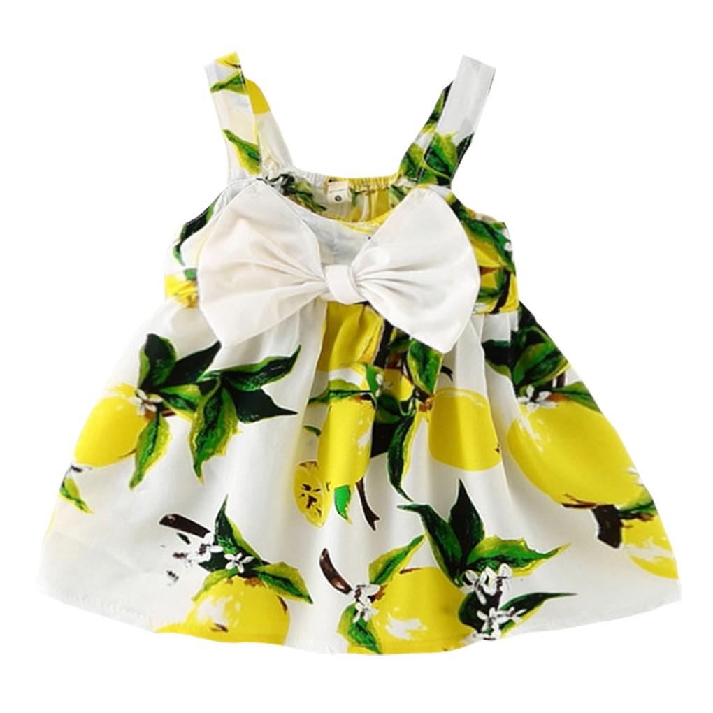 ~~ 最夯~~~ ~ 嬰幼兒寶寶蝴蝶結吊帶洋裝小童裙檸檬印花6 個月3 歲