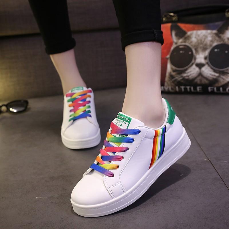 彩虹鞋帶小白鞋女透氣 拼色厚底學生系帶板鞋平底低幫 單鞋鞋子女鞋休閒鞋懶人鞋豆豆鞋娃娃鞋厚