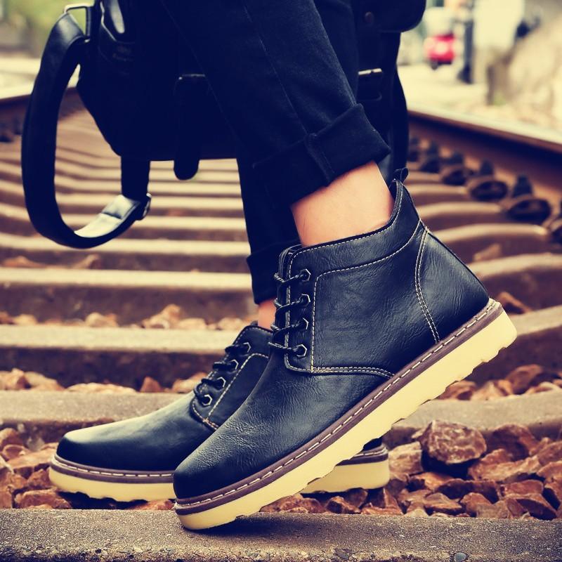 潮流指標正韓秋男鞋潮鞋馬丁靴男高筒鞋英倫雪地靴棉鞋男士靴子短靴鞋子
