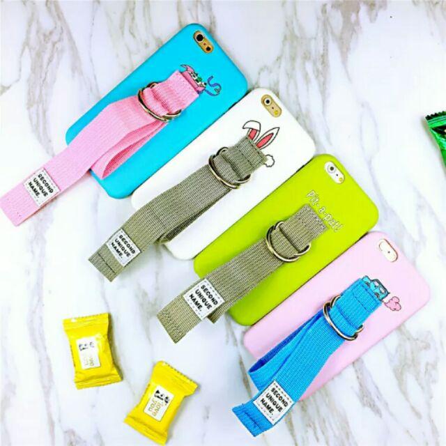 夏日清新配色帆布皮帶手機殼IPhone6 6s 6p 6sp