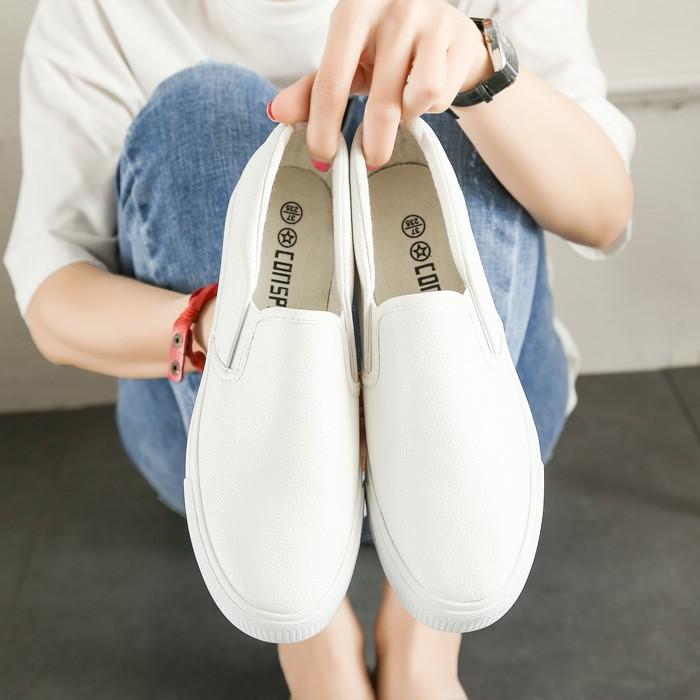 春夏皮面厚底帆布鞋女 壹腳蹬懶人鞋樂福鞋 小白鞋學生板鞋尖頭高跟鞋厚底涼鞋厚底跟鞋楔形涼鞋