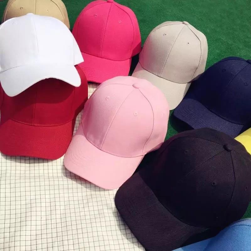 潮男女百搭純色棒球帽子夏天戶外粉色遮陽平沿嘻哈鴨舌帽情侶