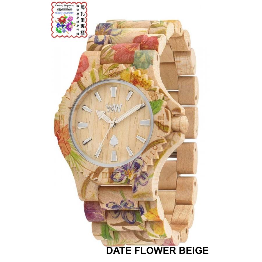 馬扎爾專櫃WEWOOD 義大利 木頭腕錶DATE FLOWER BEIGE 楓木