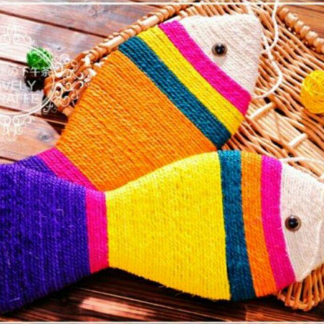 彩色劍麻魚形貓抓板寵物貓玩具貓抓板貓磨爪逗貓玩具