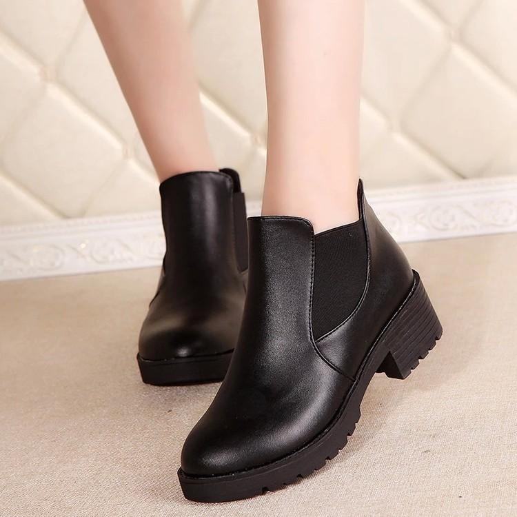 韓國 100 實拍馬丁鞋短靴高跟鞋增高鞋休閒鞋2016  英倫復古皮鞋粗跟馬丁靴短筒女靴雪
