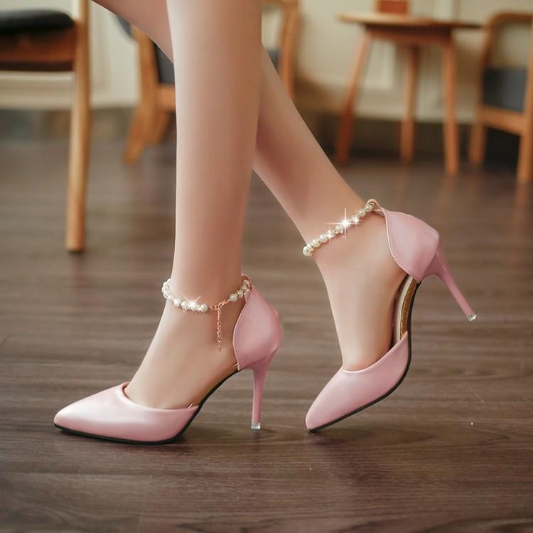 ~都市 店~n2016  中空尖頭鞋子粉色珍珠扣帶涼鞋女細跟高跟鞋中跟單鞋