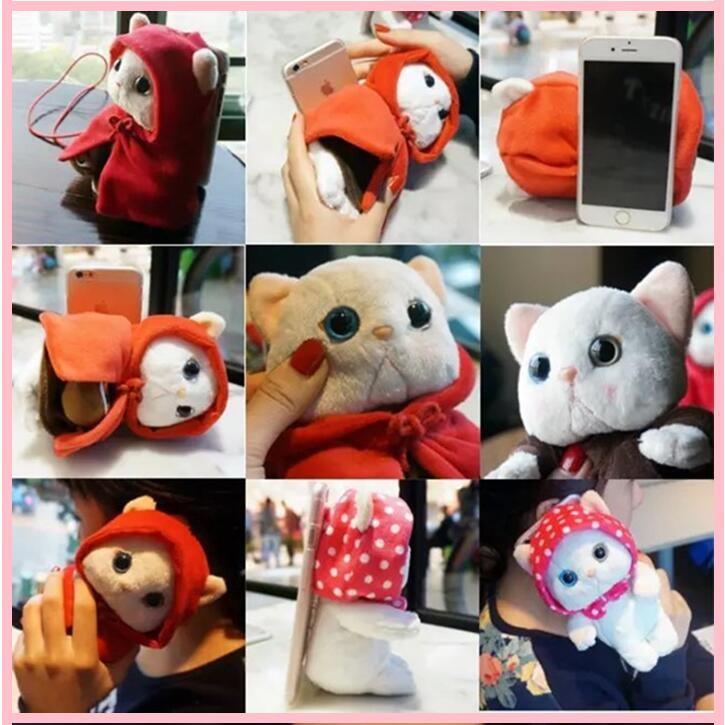iPhone 6 6S Plus 萌萌噠甜蜜貓毛絨保護套立體娃娃支架手機殼
