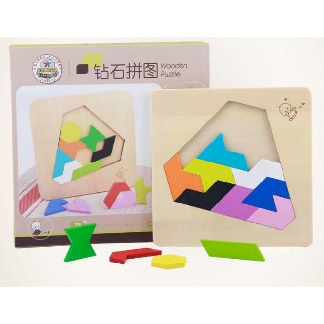 益智拼圖鑽石立體拼圖木質玩具積木七巧板益智遊戲邏輯推理樂高積木啟蒙早教148 種拼法親子同