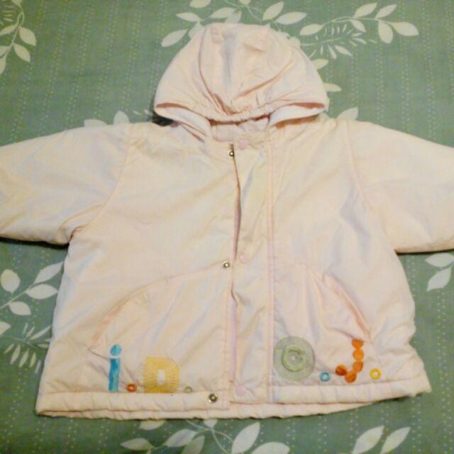 愛的世界女童風衣外套淡粉紅色保暖內鋪棉一歲幼童適穿兒童幼兒兩歲 拉鍊連帽外套