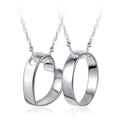 一對可刻字愛情侶項鍊戒指S925 純銀飾品男女長短款吊墜送閨蜜
