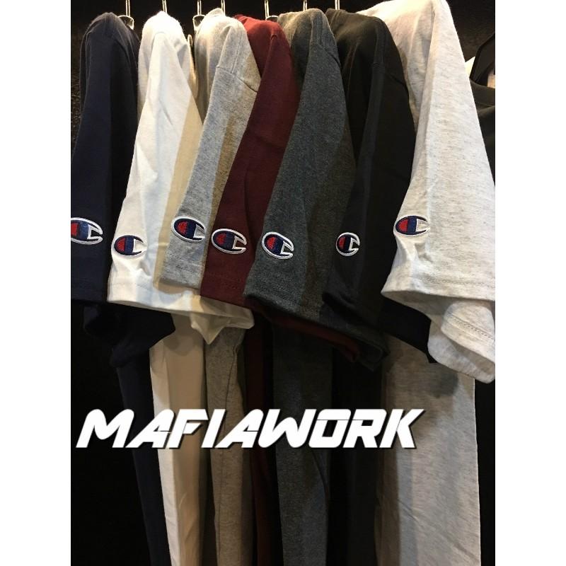 ~MAFIA WORK ~美國 CHAMPION T425 短袖素T 冠軍袖口刺繡素TEE