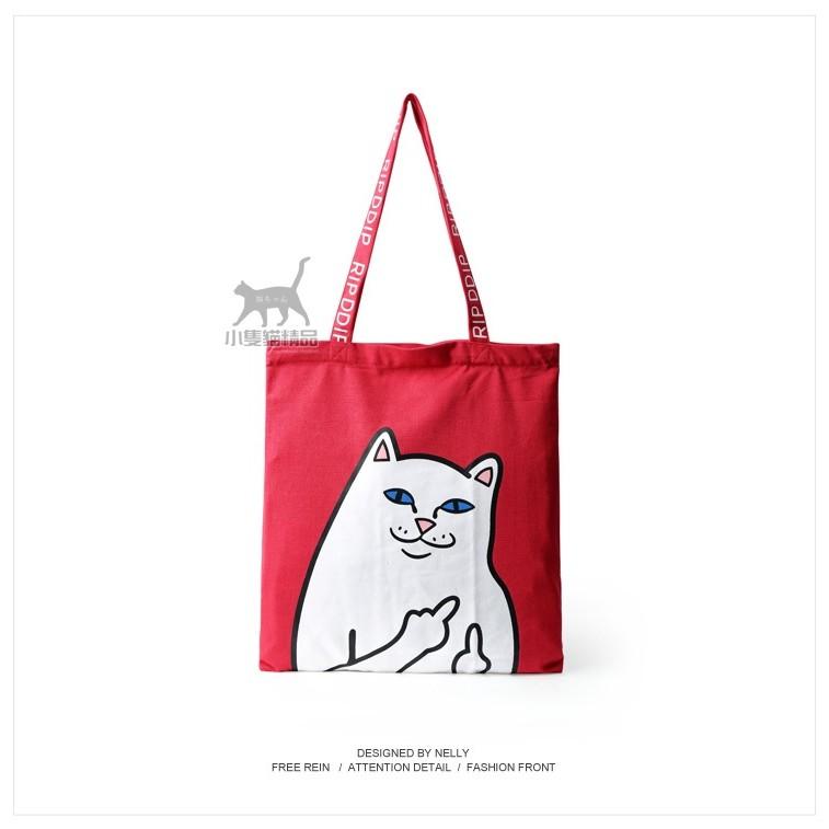 ~小隻貓 ~美潮賤貓中指貓布包!單肩斜跨手提加厚帆布包環保 袋手袋
