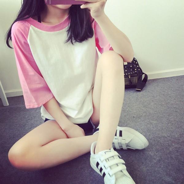 純色大碼寬鬆短袖女T 恤簡約學院風插肩中袖夏裝小清新女上衣