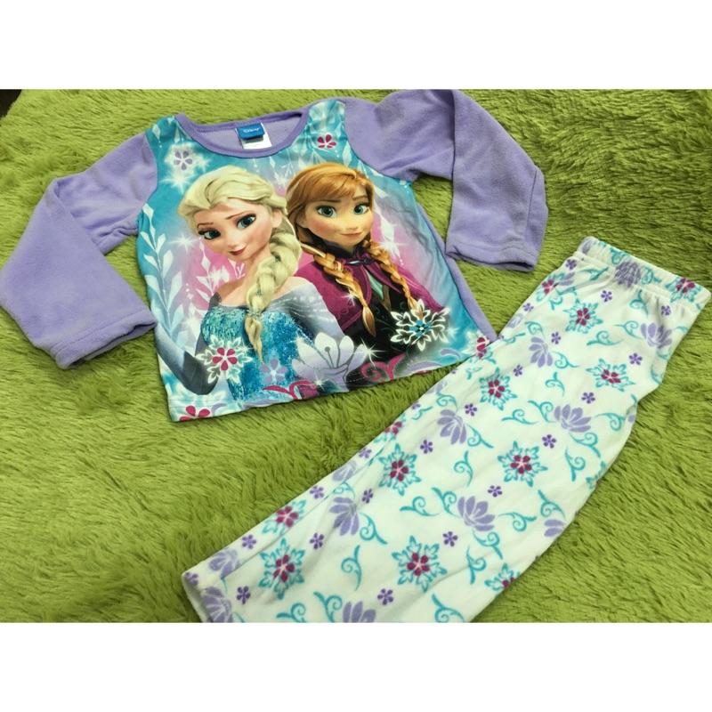 毛豆童衣~迪士尼冰雪奇緣刷毛睡衣居家服套裝