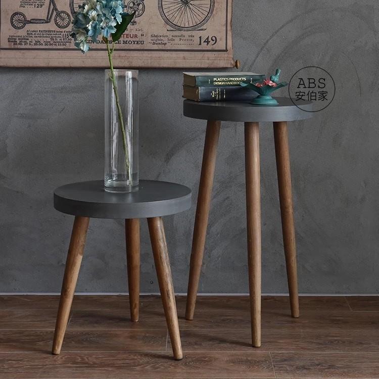 ~ABS 安伯家~鄉村美式工業風邊几木質水泥傢具沙發邊几清水模小茶几圓桌角高腳椅吧台椅矮凳