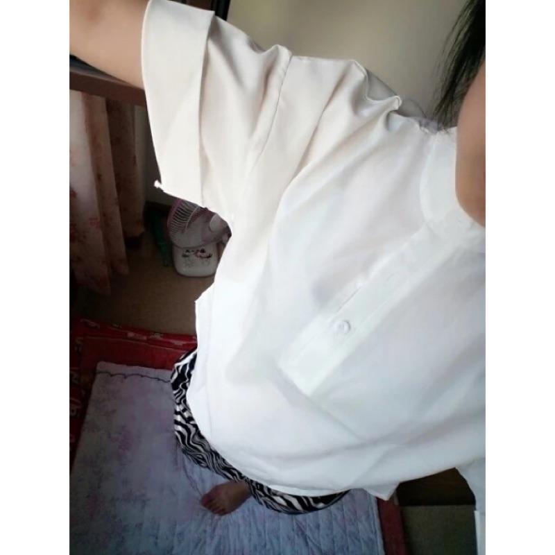 學院風小立領短袖寬鬆連肩袖襯衫
