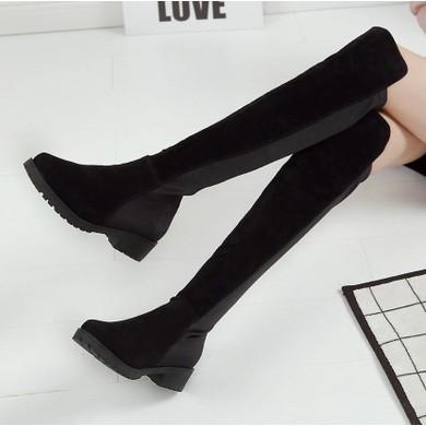 2016 鞦鼕 大碼平跟女靴過膝長靴瘦腿彈力靴平底長筒靴