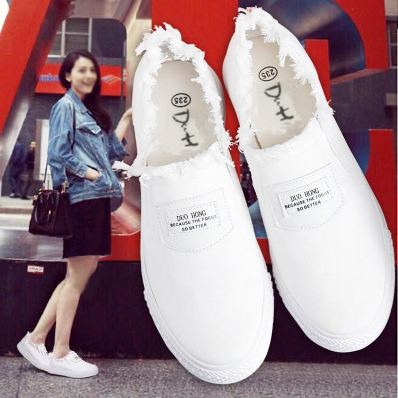 春夏小白鞋 女帆布鞋白色板鞋平底樂福鞋一腳蹬懶人休閒女鞋