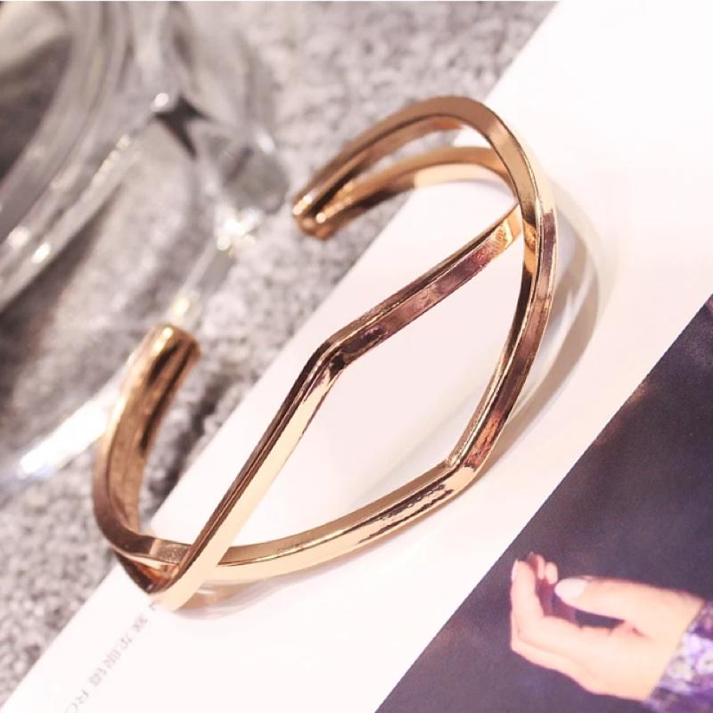 交叉雙層 手鐲 飾品日韓簡約 誇張開口手環手鍊