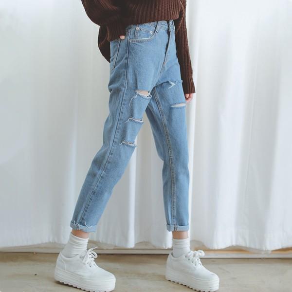 爆賣即將斷貨❗️實拍韓國ulzzang 學院風超百搭復古水洗割破寬鬆顯瘦破洞牛仔褲小腳九分