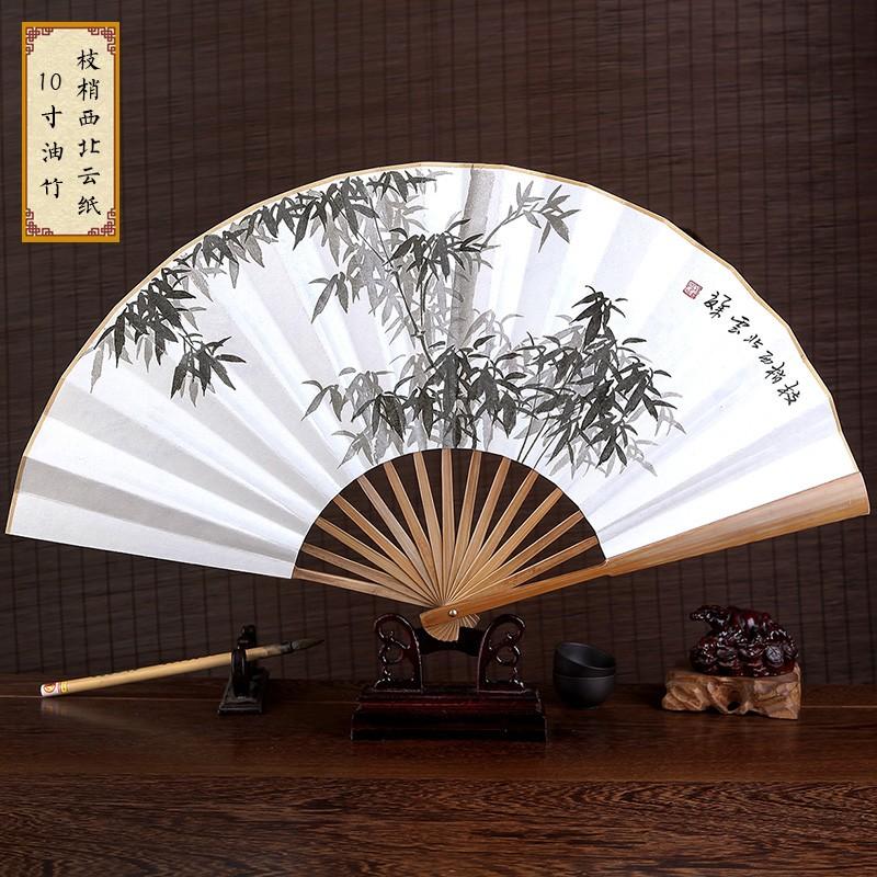 酷6 源仿烏木折扇中國風男扇子古風手繪工藝白紙扇特色 扇道具