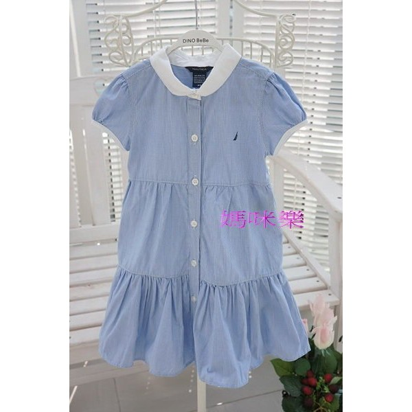 媽咪樂歐單水藍色清新淡雅拼接風娃娃短袖洋裝小童12m 24m