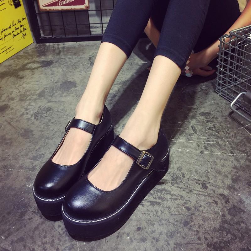 日系娃娃鞋學生演出小皮鞋森女搭扣小清新平底可愛圓頭女鞋