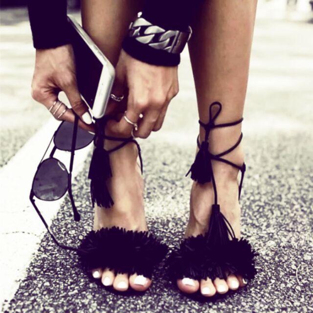 名媛最愛性感流蘇超百搭綁帶魚嘴露趾高跟涼鞋