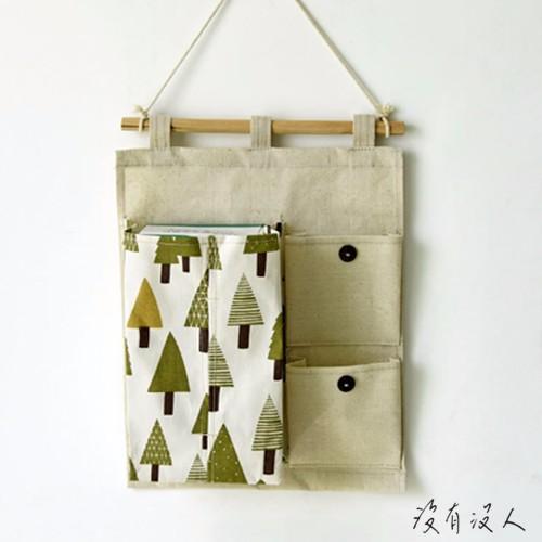 小森林~樹木圖案棉麻衛生紙面紙掛袋小口袋手機鑰匙玄關牆壁收納zakka 清新自然風格童趣故