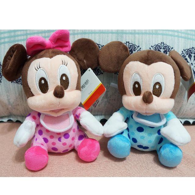 迪士尼嬰兒裝米奇﹑米妮絨毛娃娃米奇米妮娃娃絨毛玩偶 可愛迪士尼娃娃米妮娃娃米奇娃娃