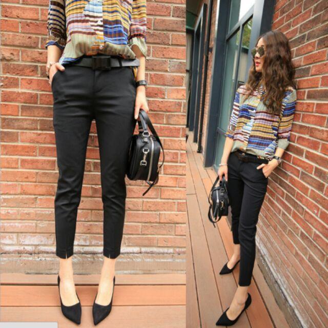 高端九分褲 休閒褲薄款顯瘦西裝褲黑色OL 女小腳褲