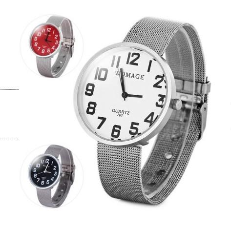 新 女裝品牌腕錶不銹鋼女士圓形錶盤數字手錶