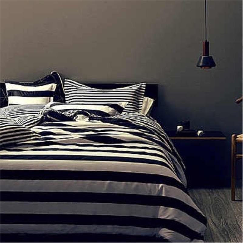 北歐簡約黑白色系床包組條紋斑馬星星格子純棉床單枕套被套床包四件組ikea zera 無印良