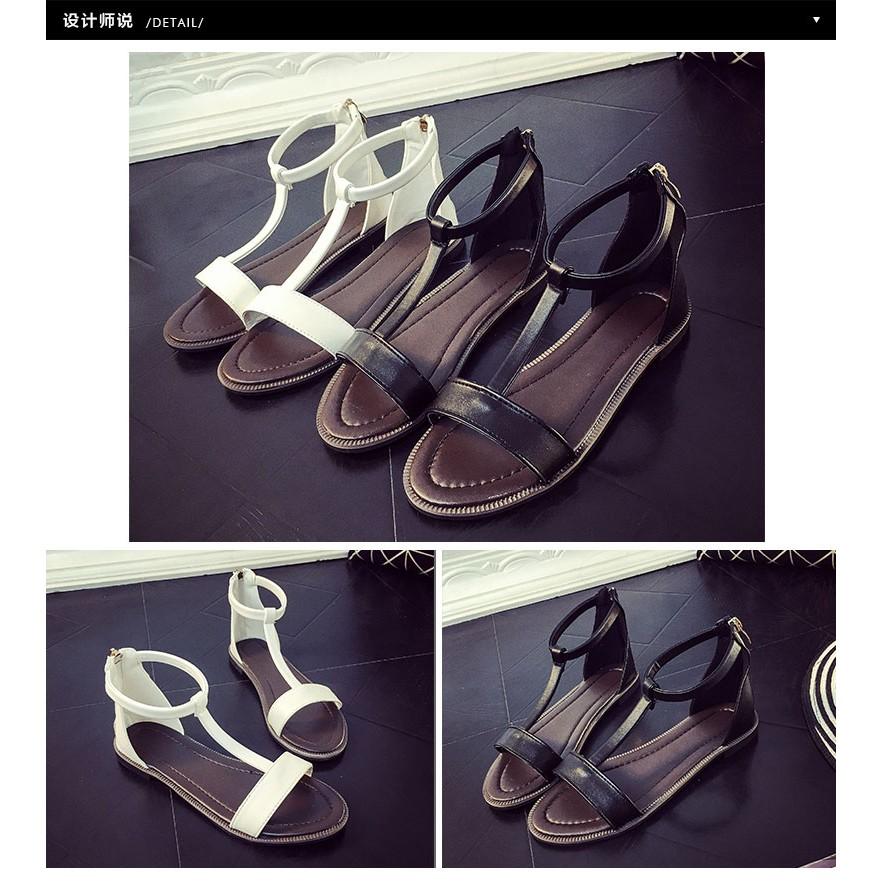 平底舒適涼鞋簡約T 字露趾包跟細帶女鞋❤追加