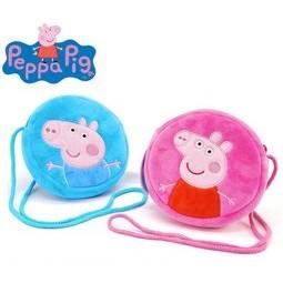 可愛卡通兒童佩佩豬喬治零錢包側背包送禮生日 小豬佩奇粉紅豬小妹有雷射標籤