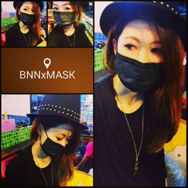 實拍 BNNxMASK 臺灣製一般防塵拋棄式口罩搖滾黑口罩極致全黑升級加厚不加價