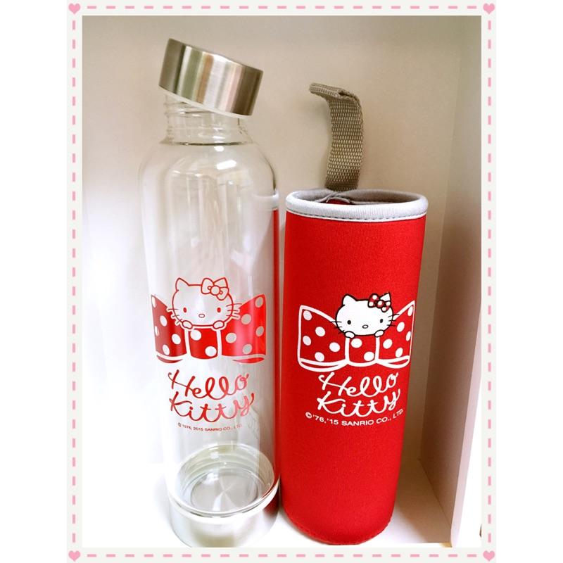 三麗鷗KT Hello Kitty 玻璃隨行杯耐熱水瓶水壺隨手杯附保溫潛水布套