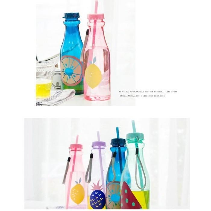 mybottle 夏日水果風2016 款汽水瓶雙蓋吸管 水壺冷飲瓶650ml kuso 文