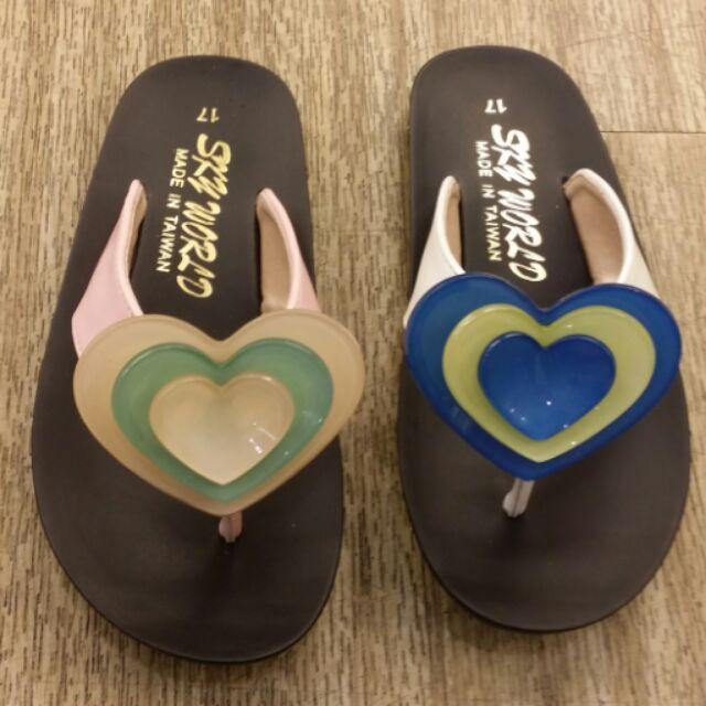 專櫃品牌SKY WORLD 夾腳雙色愛心拖防滑大底彩色夾腳拖
