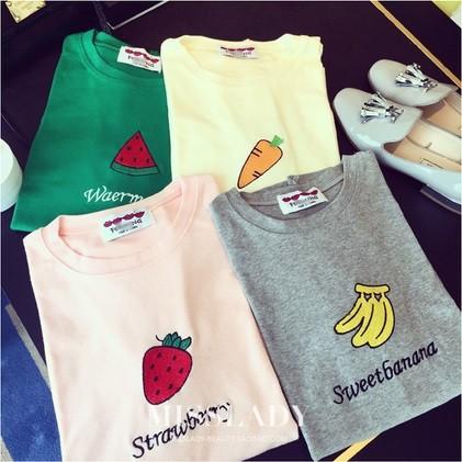 印花圖樣韓國可愛西瓜草莓香蕉水果刺繡字母糖果色寬松短袖T 恤