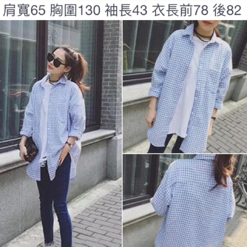 2016  寬鬆顯瘦清新格子長袖襯衫韓國簡約中長款上衣外套