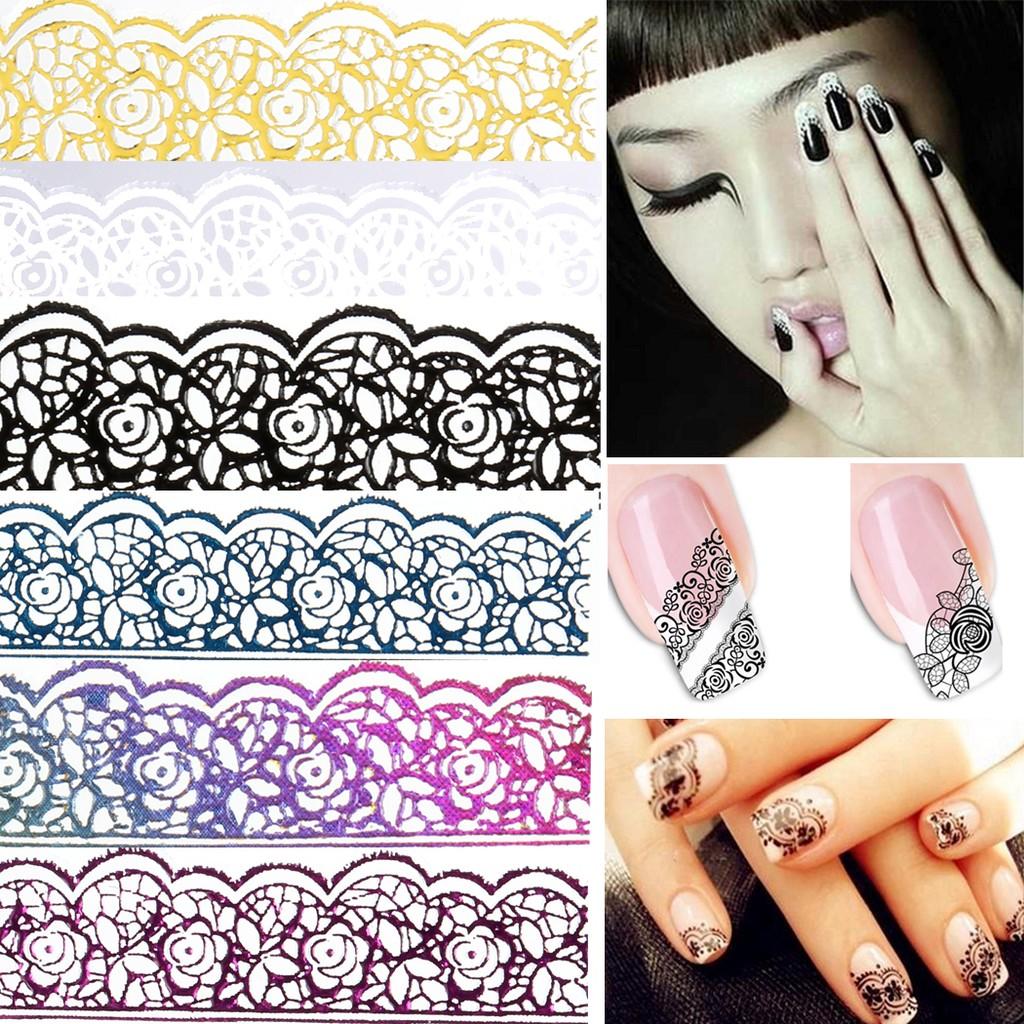 6 片環保美甲黑色白色彩色蕾絲3D 貼紙指甲飾品背膠貼花粉紅鏤空複古花紋