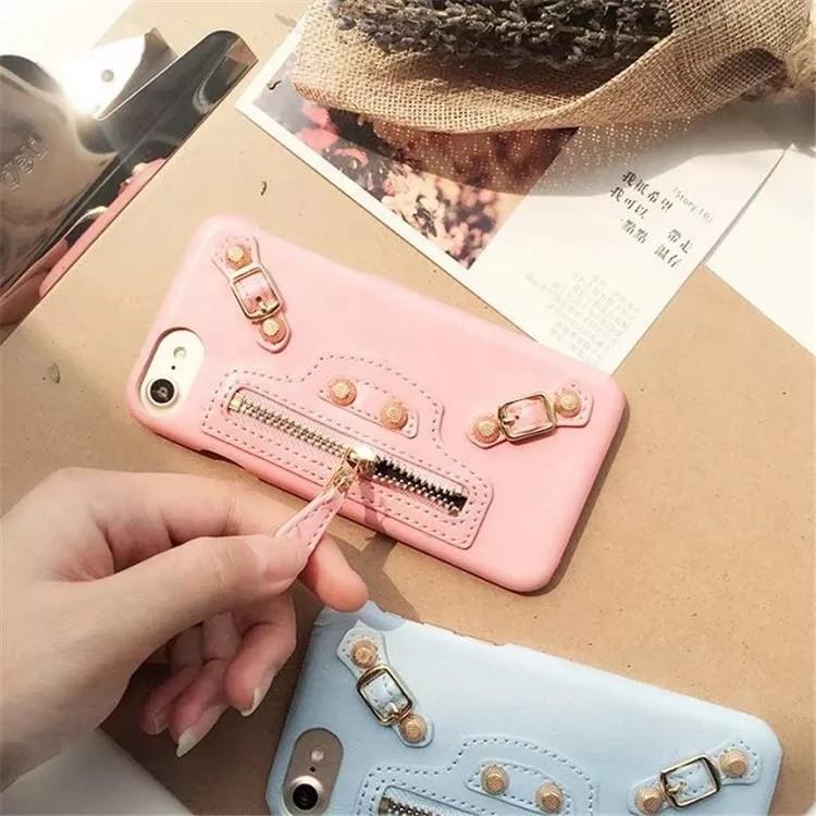 新品機車包iphone7 手機殼真皮蘋果7plus 保護套高 鉚釘糖果多色