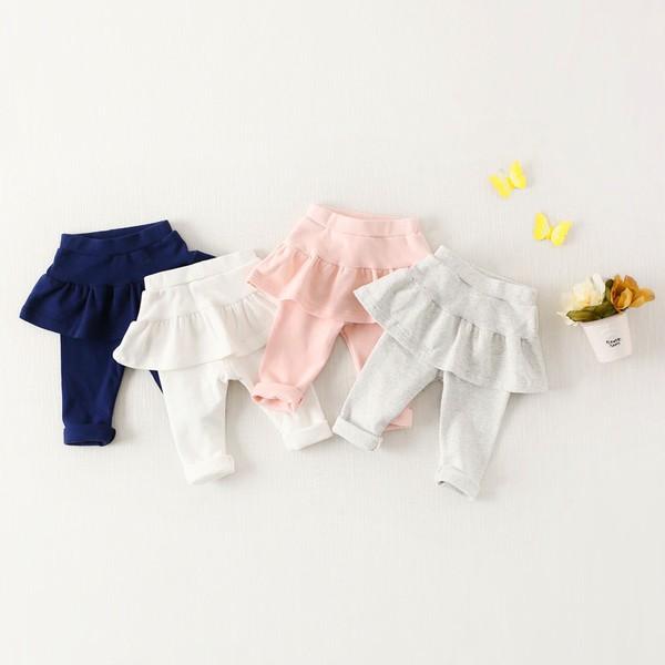 [新品]秋款~純棉荷葉邊假兩件長褲(4款)