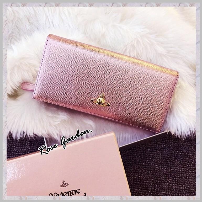 ♡玫瑰花園♡Vivienne Westwood 薇薇安魏斯伍德 正貨專櫃珠光粉色牛皮長夾