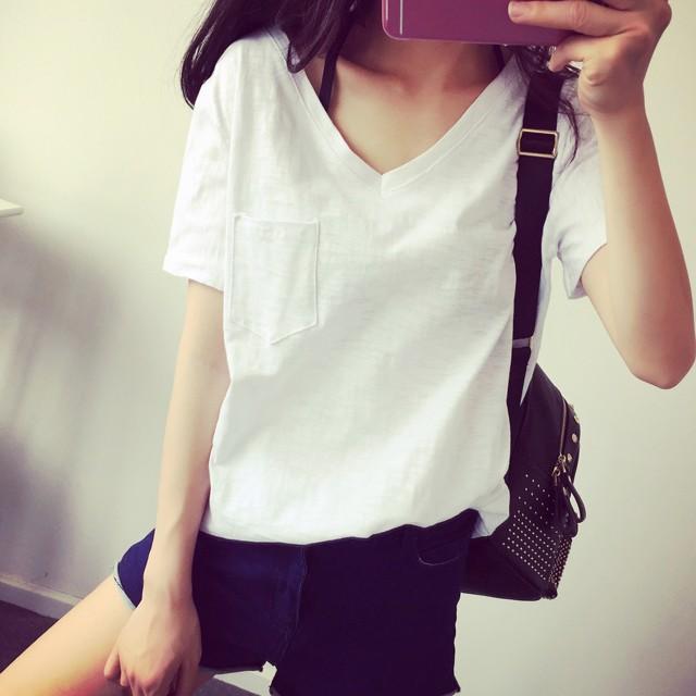 ❌ 500 件up ❌S Collection ❌純色單口袋竹節棉短袖T Shirt