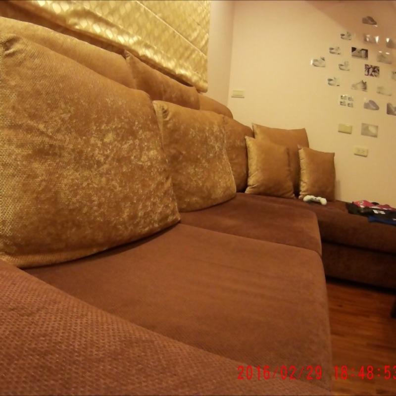 L 型沙發咖啡色系奢華金枕套