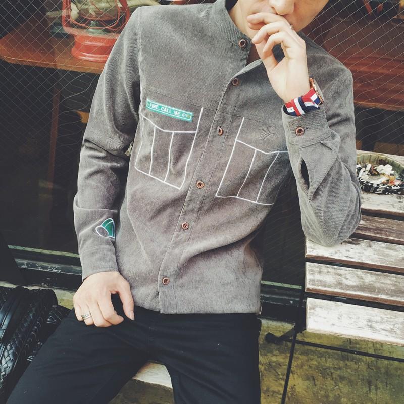 潮流男士日系燈芯絨潮男立領加厚寬松襯衣 裝文藝青年加絨刺繡長袖襯衫